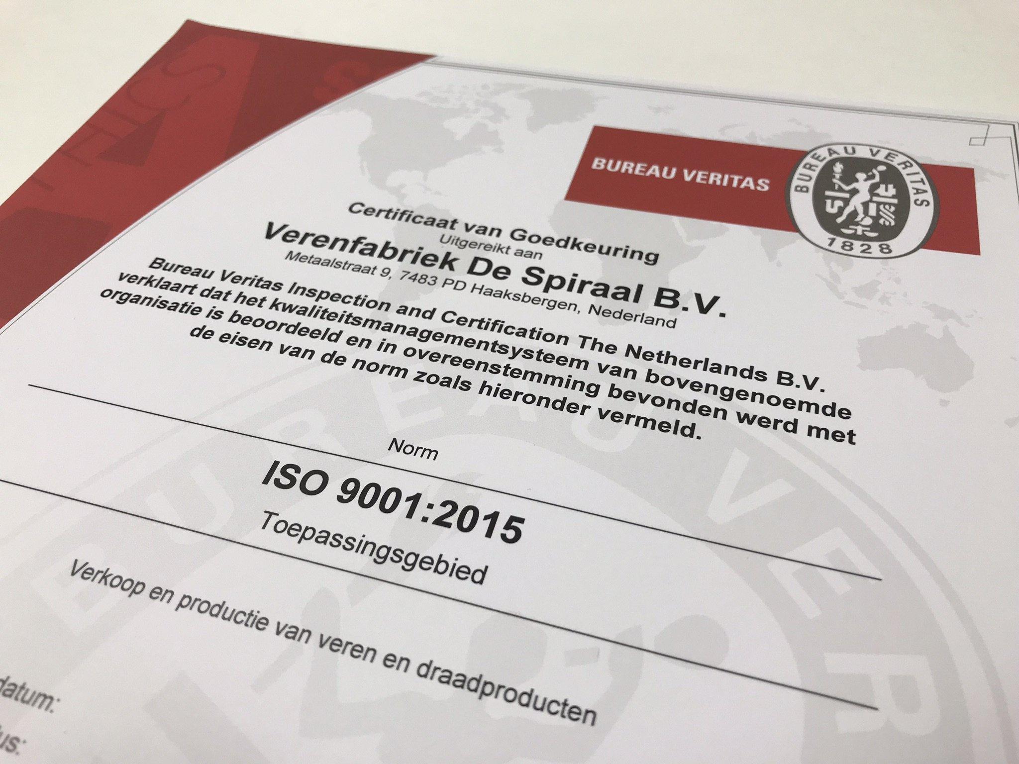 Spring_making_company_de_Spiraal_ISO_9001_certificate